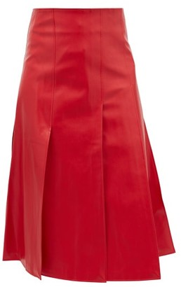 A.W.A.K.E. Mode Side-slit Faux-leather Skirt - Red
