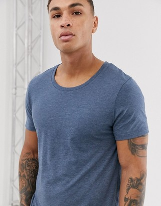 Asos Design DESIGN t-shirt with scoop neck in blue marl