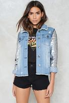 Nasty Gal nastygal Find What You're Sequin Denim Jacket