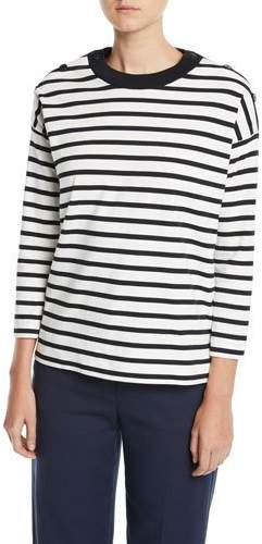 Loro Piana Button-Shoulder Long-Sleeve Striped Thick Jersey Tee