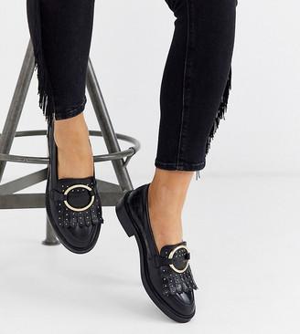 ASOS DESIGN Wide Fit Varies leather ring detail loafer in black