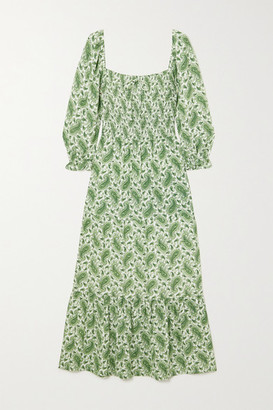Faithfull The Brand + Net Sustain Le Galet Paisley-print Crepe Midi Dress - Green