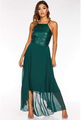 Quiz Green Sequin Chiffon Square Neck Dip Hem Dress