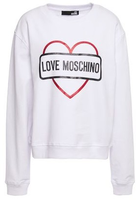 Love Moschino Glittered Printed French Cotton-blend Terry Sweatshirt
