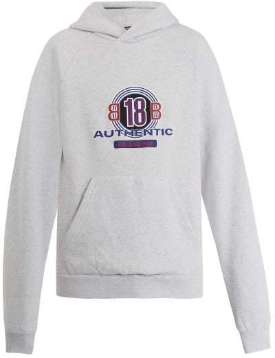 Balenciaga Bb18 Print Cotton Blend Hooded Sweatshirt - Mens - Grey