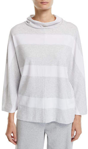 3-4-Sleeve Mock-Neck Striped Tunic Pullover
