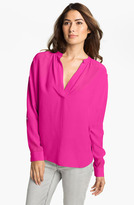 Vince Camuto Two by Split Neck Silk Tunic Blouse