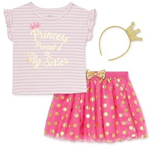Wonder Nation Baby Girl & Toddler Girl Big Sister T-shirt, Tutu Skirt & Headband, 3pc Set (12M-5T)