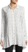 Neiman Marcus Dotted Flutter Tunic Blouse, White/Black