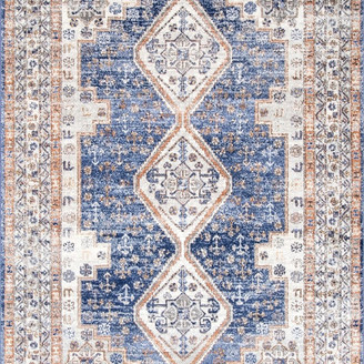 """nuLoom Nelly Vintage-Style Area Rug, Blue, 5'x7'5"""""""