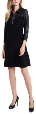 MSK Faux-Leather-Detail O-Ring Shift Dress