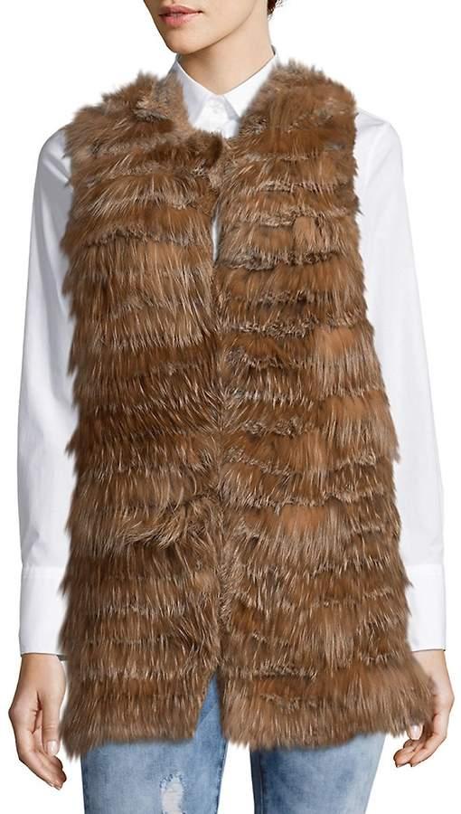 Alice + Olivia Women's Joss Cowlneck Rabbit & Silver Fox Fur Top