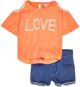 River Island Mini girls coral cold shoulder outfit