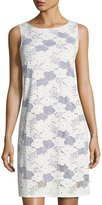 Neiman Marcus Sleeveless Lace Shift Dress, White/Blue