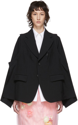 Comme des Garcons Black Tropical Wool Deconstructed Blazer