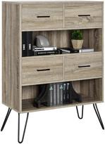 Design Studio A Lucas Bookcase With Bins, Weathered Oak