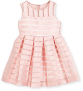 Milly Minis Sleeveless Pleated Sheer Stripe Dress, Pink, Size 4-7