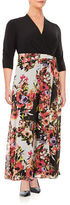 Chetta B Plus Floral Surplice Gown