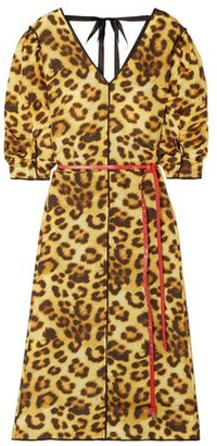 Marc Jacobs Belted Paneled Leopard-print Shell Dress