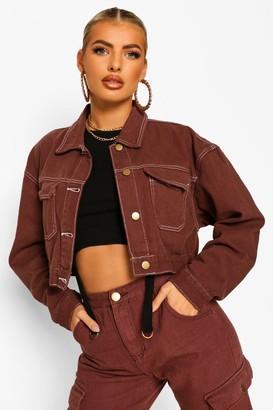 boohoo Chocolate Contrast Stitch Denim Jacket