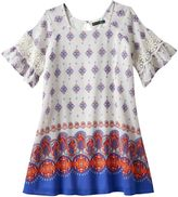 My Michelle Girls 7-16 Printed Bell Sleeve Border Dress