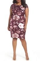 ECI Plus Size Women's Shimmer Print Sheath Dress