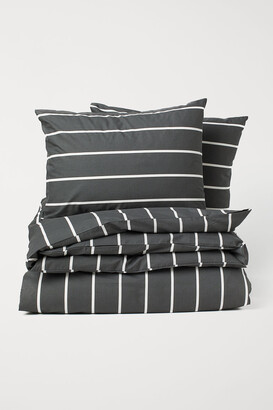 H&M Striped Duvet Cover Set - Gray