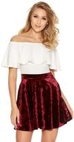 Quiz Wine Crushed Velvet High Waist Skater Skirt