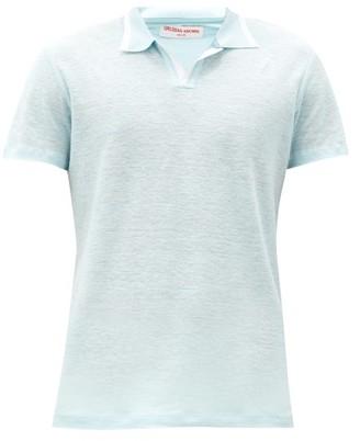 Orlebar Brown Felix Open-collar Linen Polo Shirt - Light Blue