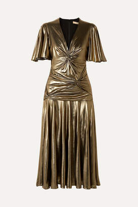 Michael Kors Knotted Stretch-lame Midi Dress - Gold