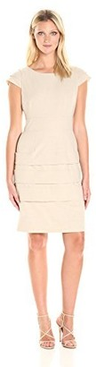 Tahari by Arthur S. Levine Women's Cap Sleeve Scuba Banded Dress