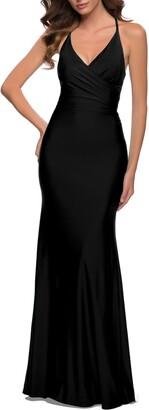 La Femme Wrap Front Strappy Back Jersey Gown