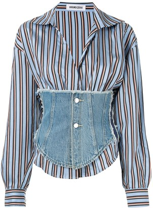 Ground Zero Corset Detail Striped Shirt