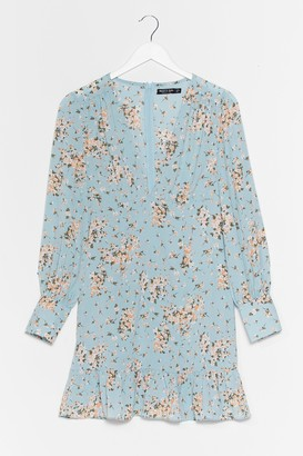 Nasty Gal Womens On the Flip Side Plunging Floral Dress - Baby Blue