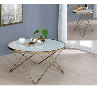 Mercer41 Galghard Coffee Table Table Top Color: Frosted Glass
