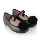 Pretty Ballerinas Pretty BallerinasPatent Black Hannah Shoes With Fur Pom Pom
