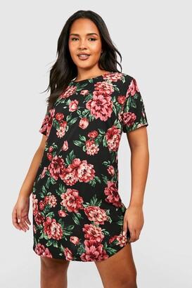 boohoo Plus Floral Cap Sleeve Shift Dress