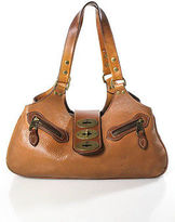 Mulberry Chestnut Brown Leather Gold Tone Accents Satchel Handbag