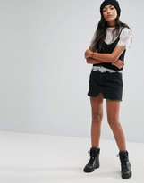 Pull&Bear Frayed Mini Denim Skirt