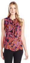 Anne Klein Women's Sleeveless Somerset Printed Bow Blouse