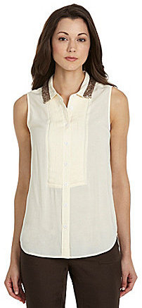 Vince Camuto TWO by Sequin Collar Tuxedo Top