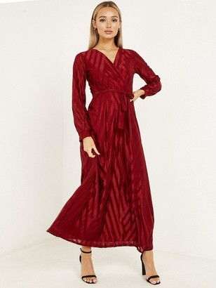 Quiz Chevron Wrap Front Cuff Sleeve Stripe Maxi Dress - Wine