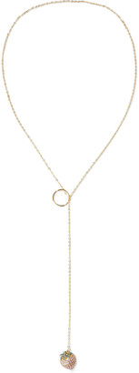 Noir Strawberry Hoop 14-karat Gold-plated Crystal Necklace