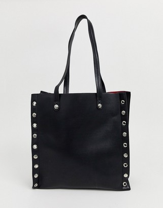 Asos Design DESIGN stud shopper bag with laptop compartment-Black