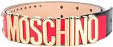 Moschino logo plaque belt - women - Leather/metal - 38
