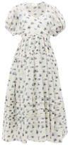 Cecilie Bahnsen - Elisa Tie-back Rose Fil-coupe Midi Dress - Womens - White Multi