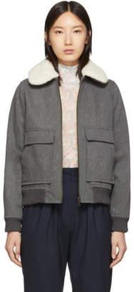 A.P.C. Grey Wool Snowbird Bomber Jacket