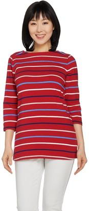 Denim & Co. Yarn Dyed Stripe 3/4 Sleeve Boat Neck Top