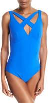 Chiara Boni La Petite Robe Clorinda Strappy Cutout V-Neck One-Piece Swimsuit