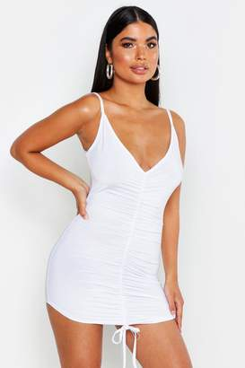 boohoo Petite All Over Ruched V-Neck Cami Dress